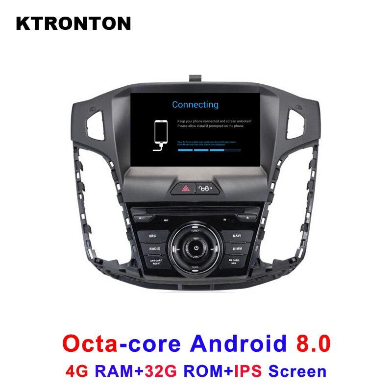 Octa-core Android 8.0 Lecteur DVD de Voiture pour Ford Focus 3 2012-2014 avec Stéréo Audio Radio BT bande Enregistreur GPS Wifi DVR IPS Écran