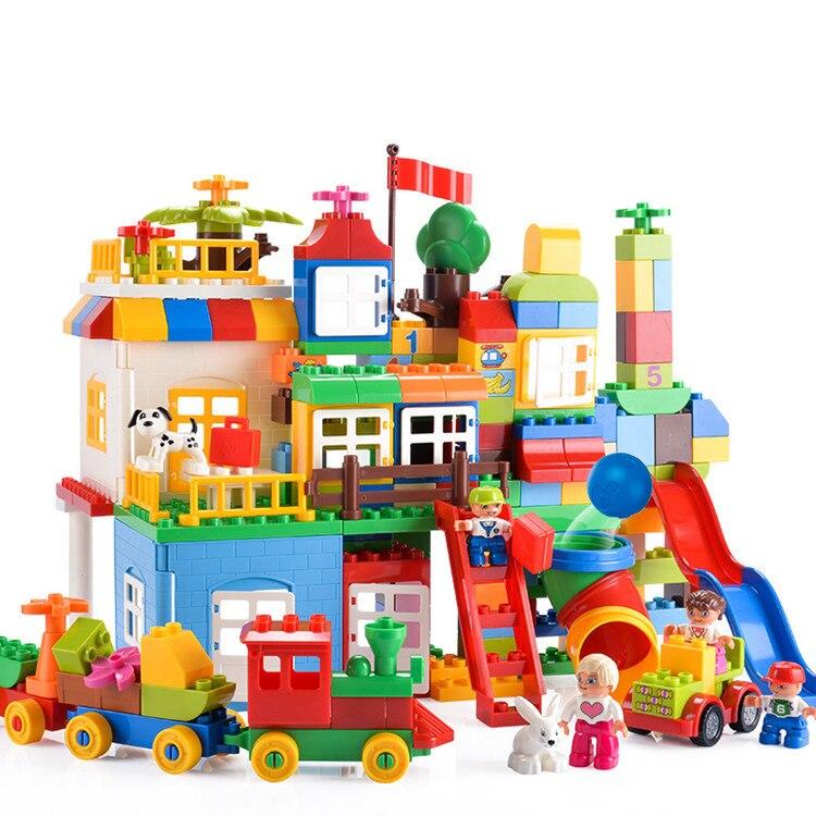 Nouveau 210 pièces gros blocs de construction créateur ville parc d'attractions bricolage château Assemblage blocs compatibles Legoings Duplos enfants jouet cadeau