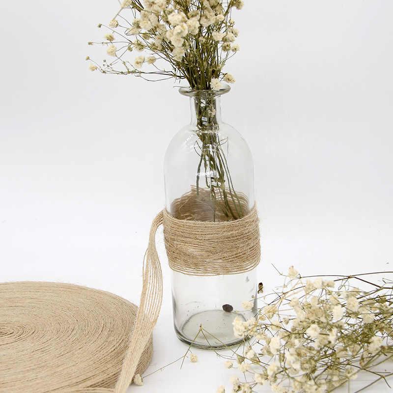 5 M de ancho 0,6 CM/1 CM/2,5 CM rollos de Yute Natural de arpillera suministros decorativos para manualidades de fiesta