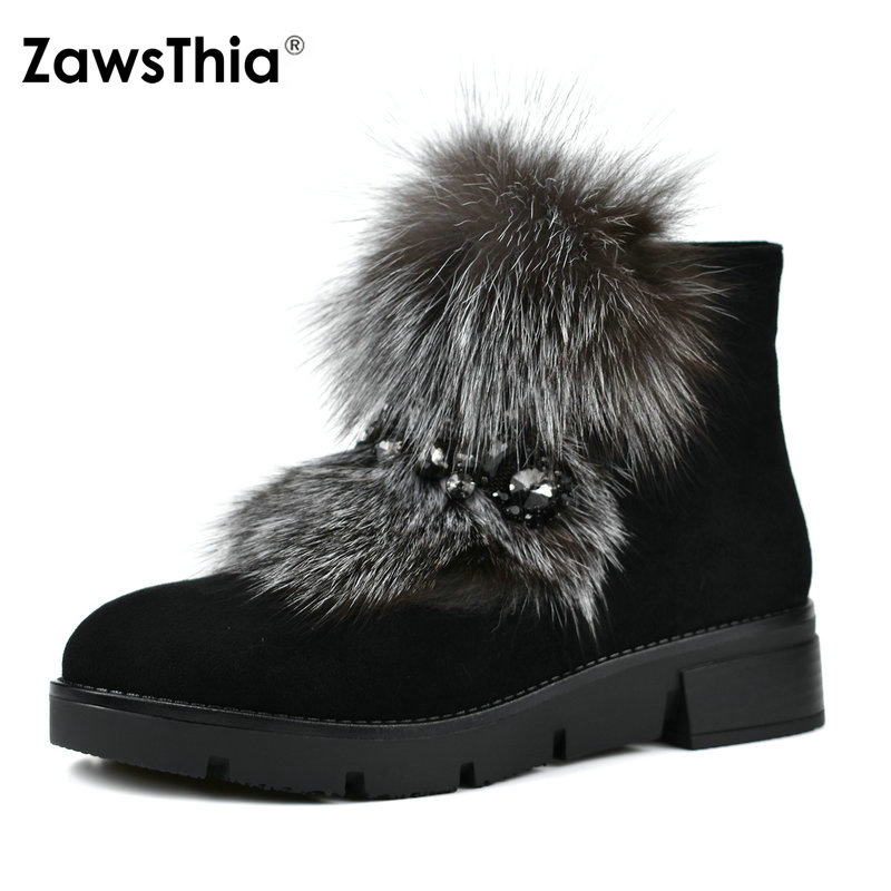 ZawsThia Luxury Fox Fur Flock Leather Snow Boots Women Platform Flat Zipper Female Ankle Boots With Metal Chain Winter Warm Shoe dg0091 rounding top hat beach hat coffee