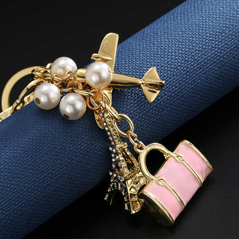 Bag Pendant Eiffel Tower Handbag Pearl KeyChain Crystal Diamond-encrusted  Gift Women Wallet Handbag Schoolbag d3dd15426fc5
