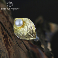Lotus Fun Moment Real 925 Sterling Silver Natural Pearl Handmade Fashion Jewelry Creative Open Ring Leaf