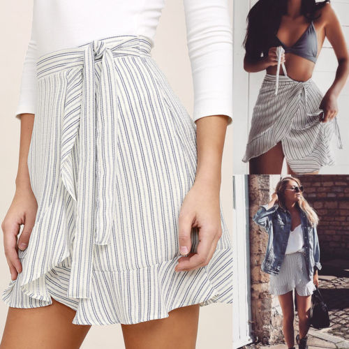 Women Slim Skirts High Waist Bodycon Bandage Lace Up Evening Party Striped Cocktail Club Pencil Mini Skirt