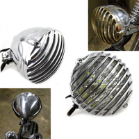 Chrome Old School Scalloped Vintage Finned Grill Custom LED Brass Headlight For Harley Cafe Chopper Bobber Racer Custom