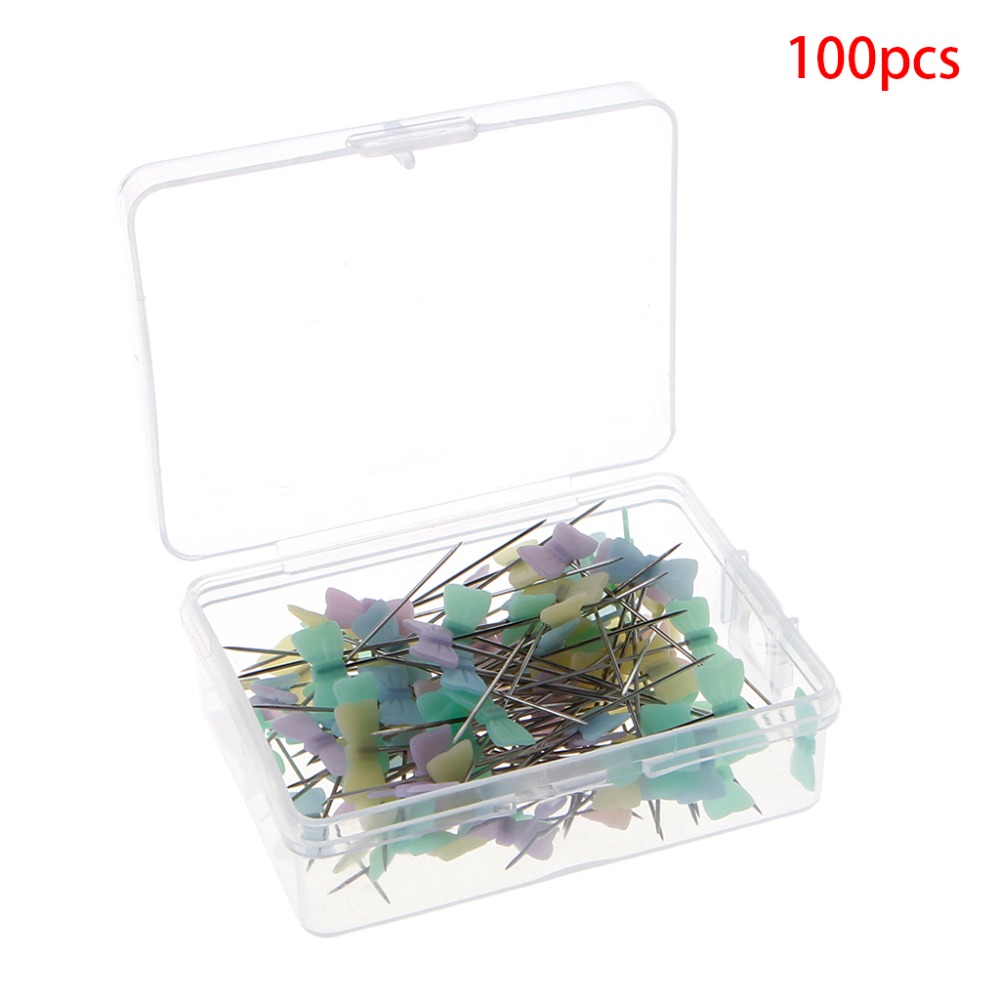 100Pcs/lo100 Pcs Push Pins Bowknot Style Pins Needles Sewing Quilting Marking