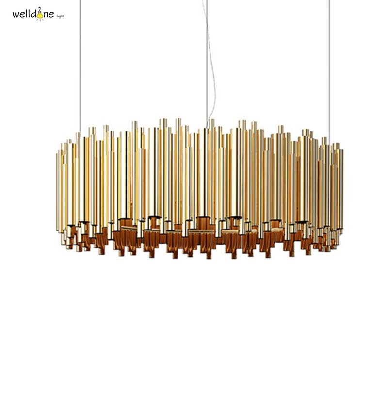 Modern gold dramatic pipe organ brubeck pendant lamp suspension lights for Hotel restaurant bedroom living room торшер sikorka alfa 1265648
