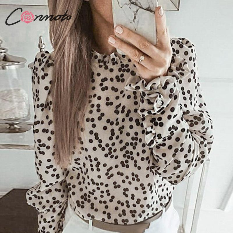 Conmoto Polka Dot Vintage Women Blouse Shirt Elegant Female Winter 2019 Blouse Shirts Turtleneck Puff Long Sleeve Blusa Mujer