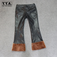 Black Women Leather Pants Plus Size XL Female Thicken Woolen Warm Trousers Femme Pants 2018 New Fashion Straight Pants Spliced