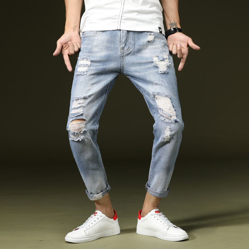 2019 spring and summer light blue new hole tapered   jeans   men's trend casual style slim nine pants student harem pants