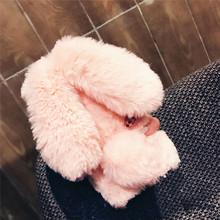 pink phone bag For Sumsung Galaxy s5 s6 7 edge s8 s9 plus note3 4 5 8 9 Soft TPU Cute Rabbit Etui Hairy Warm Fur Doll Plush Case