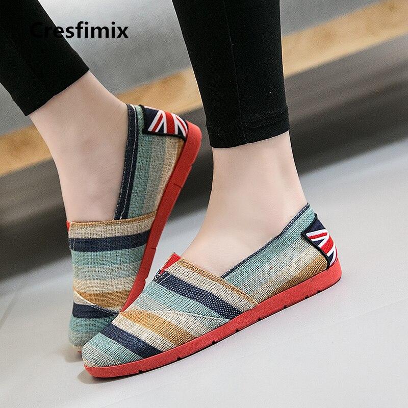 e9da25d28 Cresfimix mulheres moda verão confortável deslizamento em sapatos baixos senhora  sapatos de pano da listra azul retro feminino dança loafers a437