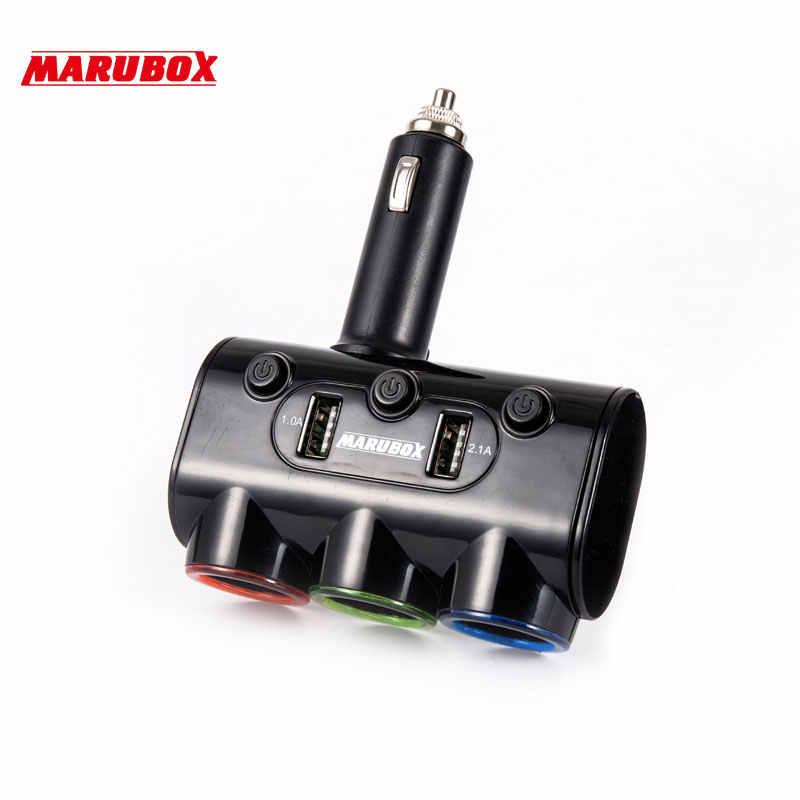 12v-24v High Quality 3 Ways Car Auto Cigarette Lighter Socket Splitter Power Adapter 3.1A 20W + Dual USB Charger