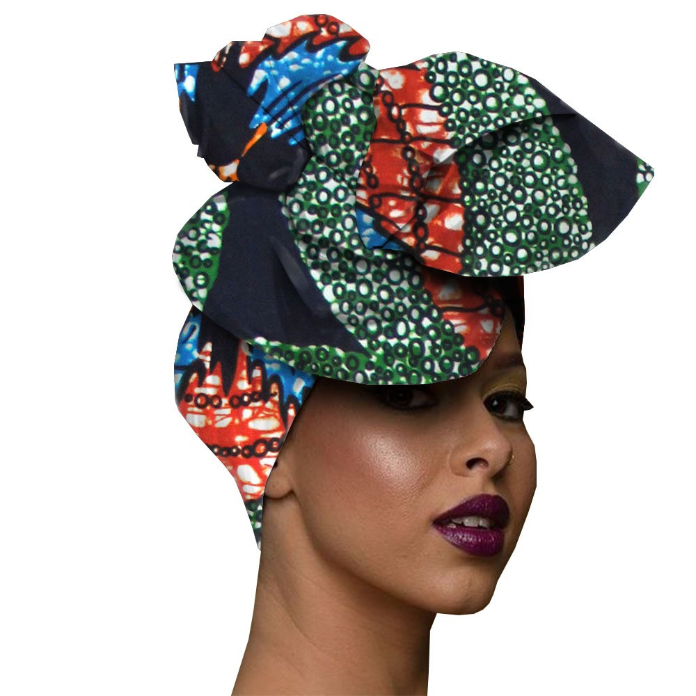African Headwrap Women Cotton Wax Fabric Traditional Headtie   Scarf   Turban 100% Cotton   Scarves     Wraps   90*110