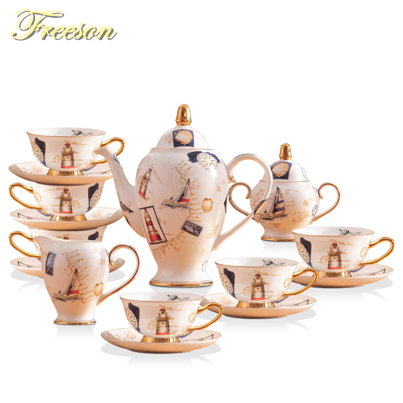 Europe Logbook Bone China Coffee Set British Porcelain Tea Set Ceramic Pot Creamer Sugar Bowl Teatime Teapot Coffee Cup Tea Mug