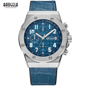 Image 2 - Baogela Mannen Nieuwe Quartz Horloges 2019 Waterdicht Chronograaf Casual Lichtgevende Polshorloge Man Lederen Band Relogios 1805 Blauw