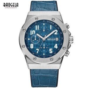Image 2 - Baogela novos relógios de quartzo masculino 2019 cronógrafo à prova dwaterproof água relógio de pulso luminoso casual homem pulseira de couro relogios 1805 azul