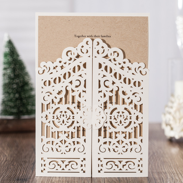 100PCS Laser Cut Wedding Invitations Cards With Ivory Open Door Hollow  Flowers Design Cardstock For Wedding