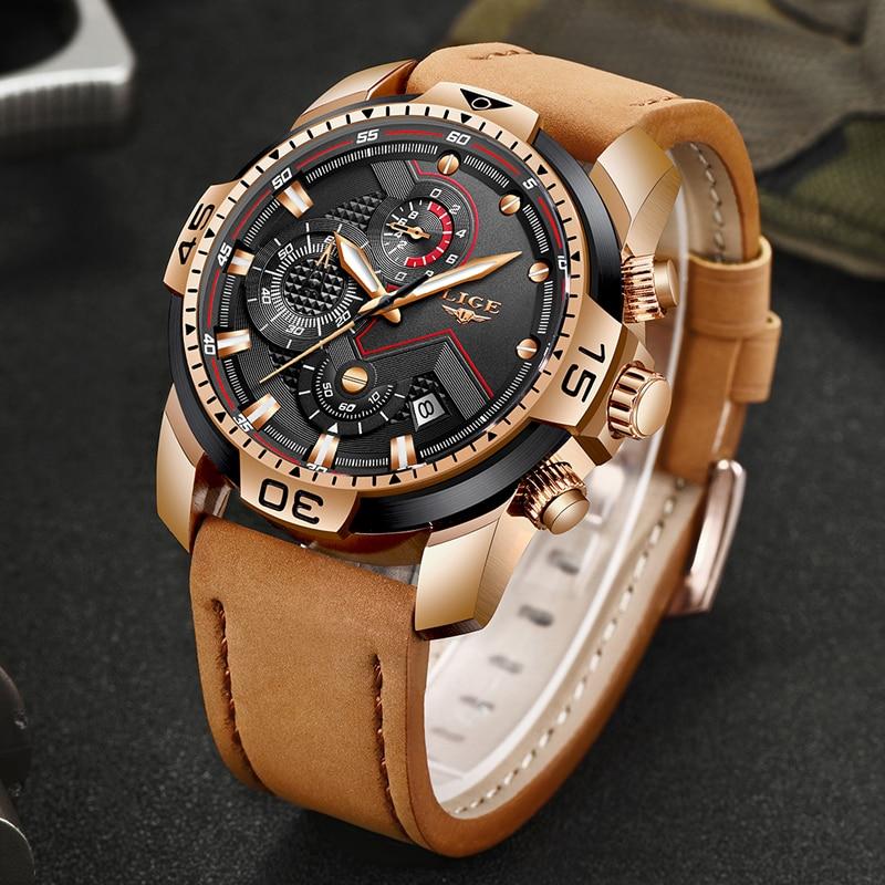2019 New LIGE Fashion Chronograph Casual Leather Waterproof Quartz Men Watches Top Brand Luxury Military Sport Watch Men Relogio