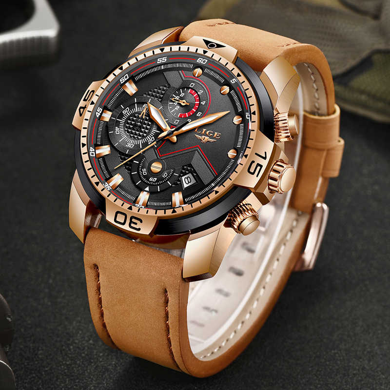 2019 New LIGE Fashion Chronograph Casual Leather Waterproof Quartz Men Watches Top Brand Luxury Military Sport Watch Men Relogio