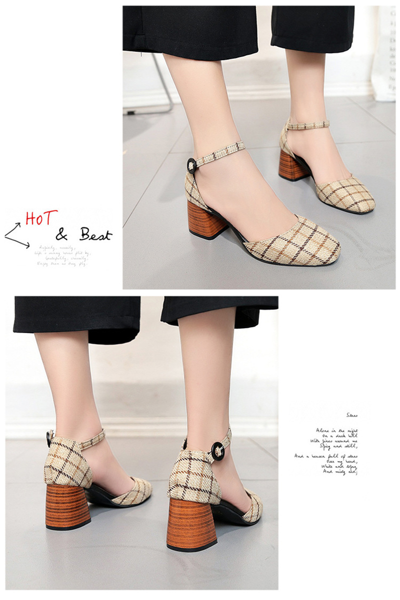 High Heels Shoes Women Pumps Square Toe Summer Sandals Thick Heels Plaid Casual Good Quality Female Office Shoes Comfortable 13
