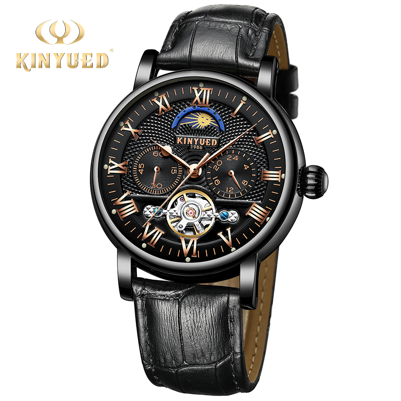 KINYUED 2018 Automatic Watch Men Luxury Mechanical Skeleton Watches Fashion Brand Auto Moon Phase saat erkek kol Dropshipping fashion automatic mechanical watch luxury brand sewor watches skeleton military clock leather men casual erkek kol saatleri page 4