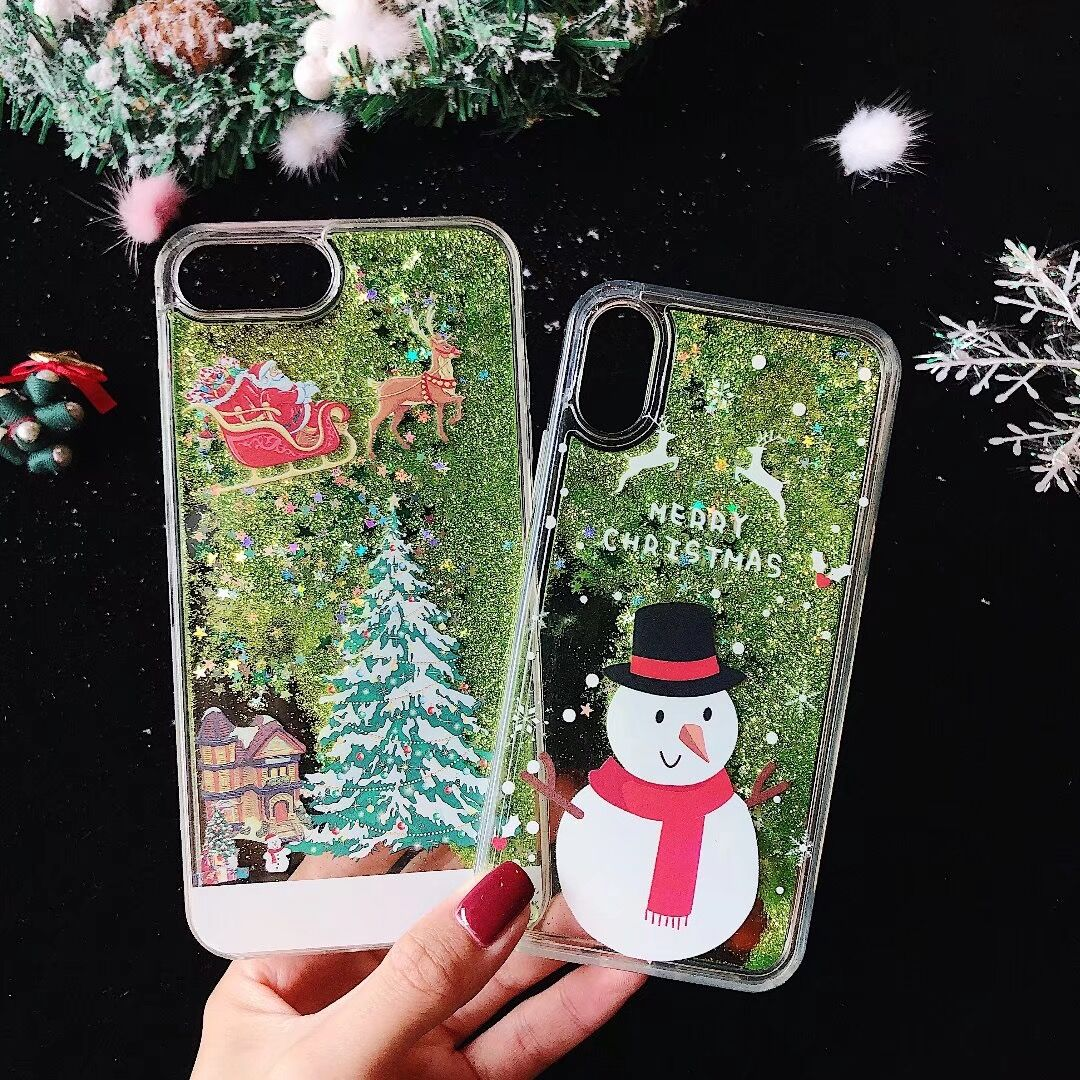 Christmas Santa Claus Elk Snow Dynamic Liquid Quicksand Case Cover For  Iphone 6 6S 7 8 Plus X Xr Xs Max PC Hard Phone Back Shell