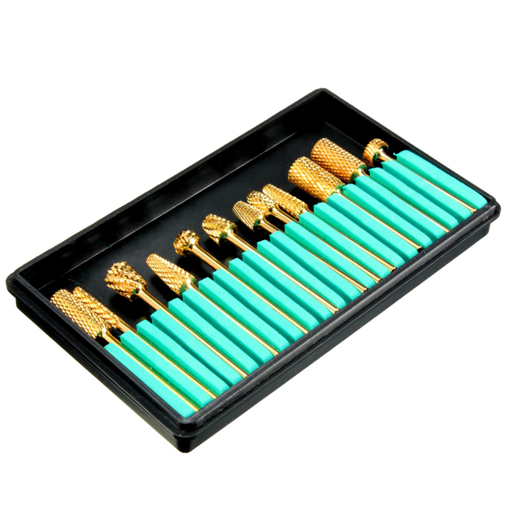 12Pcs Pro Cylinder Electric Gold Carbide art Nail Care Drill Bit Accessories Grinding Head Set Tool File Metal Round Style pro 2 pcs gold