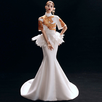 Stage performance qipao show long fishtail fashion qipao dress elegant Chinese style model elegant dress trailing tail dress