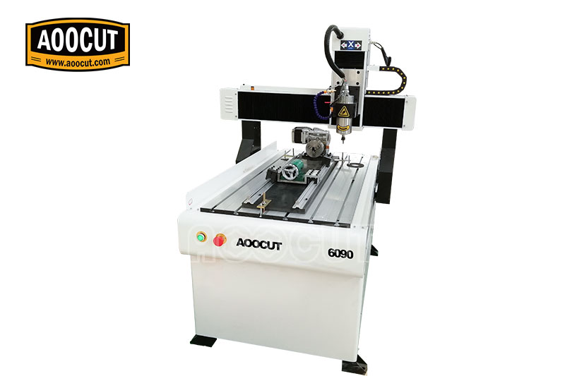 Hot sale 4th rotary axis mini cnc router and mini desktop 6090 cnc aoocut at a low price 3
