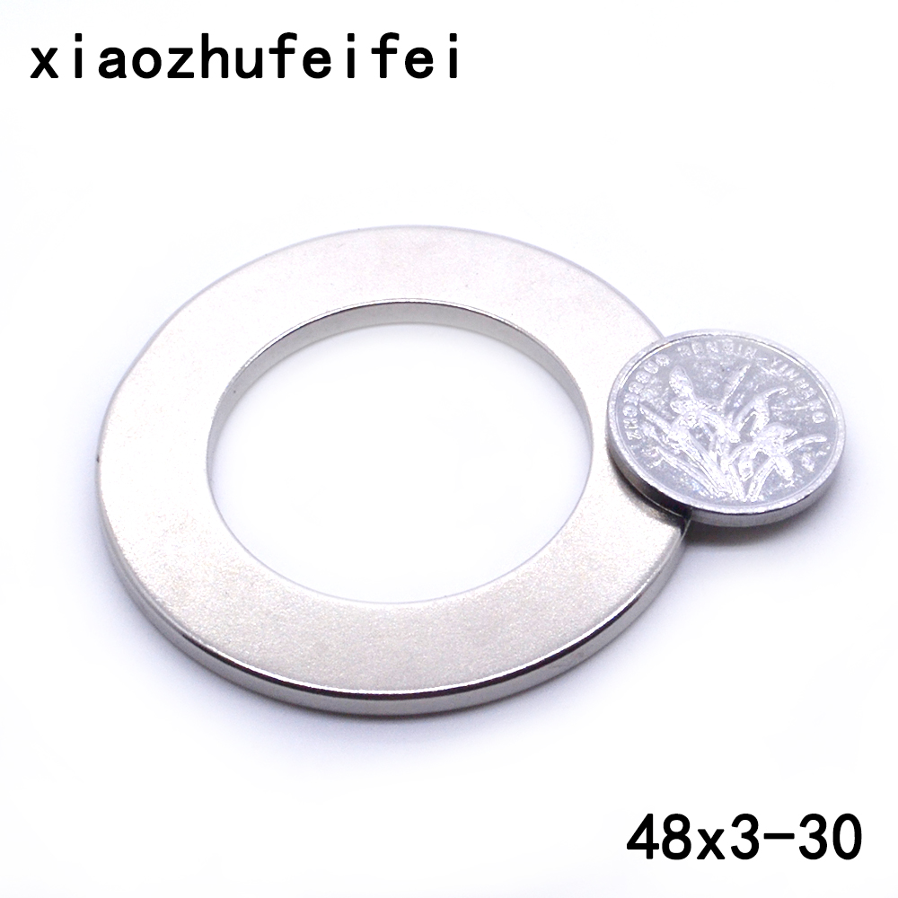10pcs 48 x <font><b>3</b></font> <font><b>mm</b></font> Hole: 30mm super Strong Round Neodymium Countersunk <font><b>Ring</b></font> Magnets Rare Earth N50 48*3mm hole 30mm image