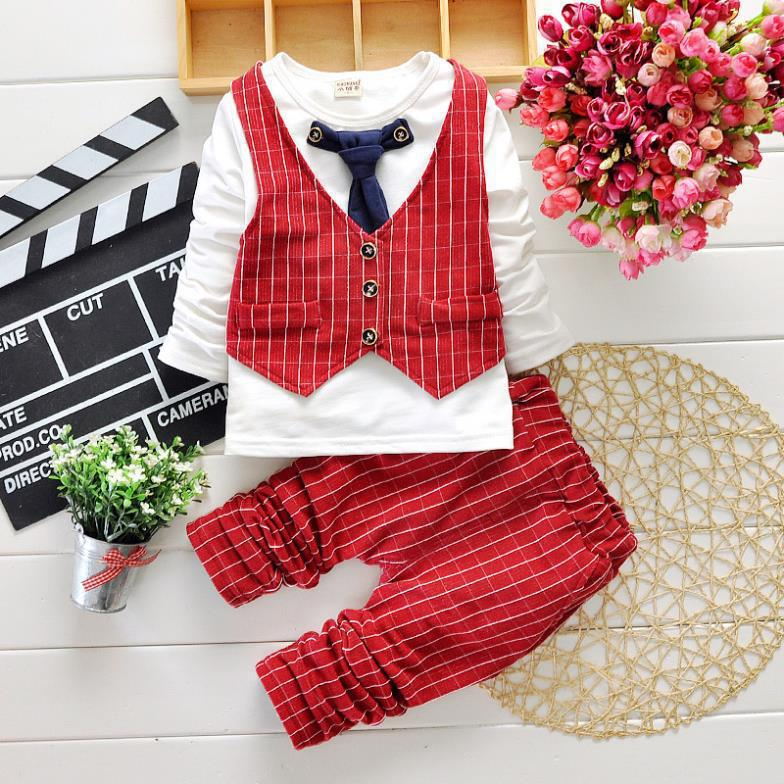2017 Baby Boy Gentleman Suit Long Sleeve Formal Spring Boys Suits Kids Plaid Children Clothes Sets Tie Birthday Costume Set Gift