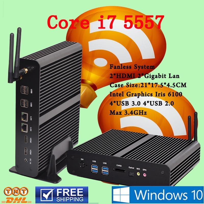 Fanless Mini PC Linux Windows 10 Broadwell Intel Core i7 5557U Max 3 4GHz Graphics Iris