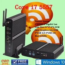 Безвентиляторный Мини-ПК Linux Windows 10 Intel Core i7 Бродуэлла 5557U макс 3.4 ГГц Графики Iris 6100 HTPC Офисного компьютера Tv Box Usb