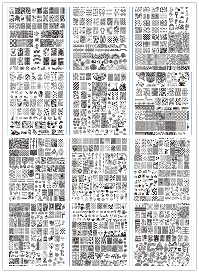 12Pcs Nail Stamping Plates Assorted Designs DIY Image Acrylic Nail Art Manicure Templates Stencils Beauty Polish