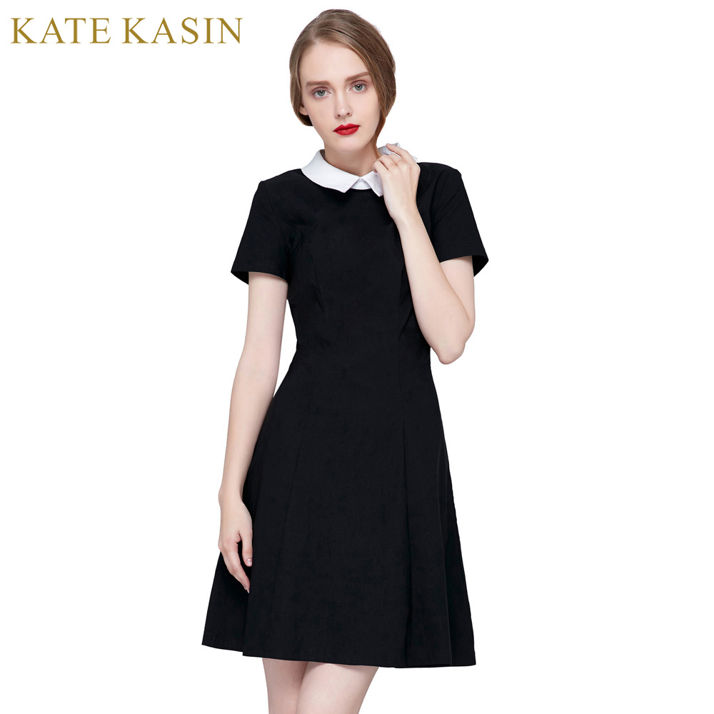 Kate Kasin 2017 Summer Black Dress With White Collar Women Office Dresses Pin Up Vintage Robe Femme Office A-Line Pleated Dress