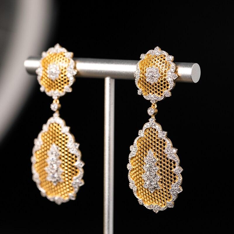 925 argent Zircon oreille goujon bijoux femmes cour européenne style vintage