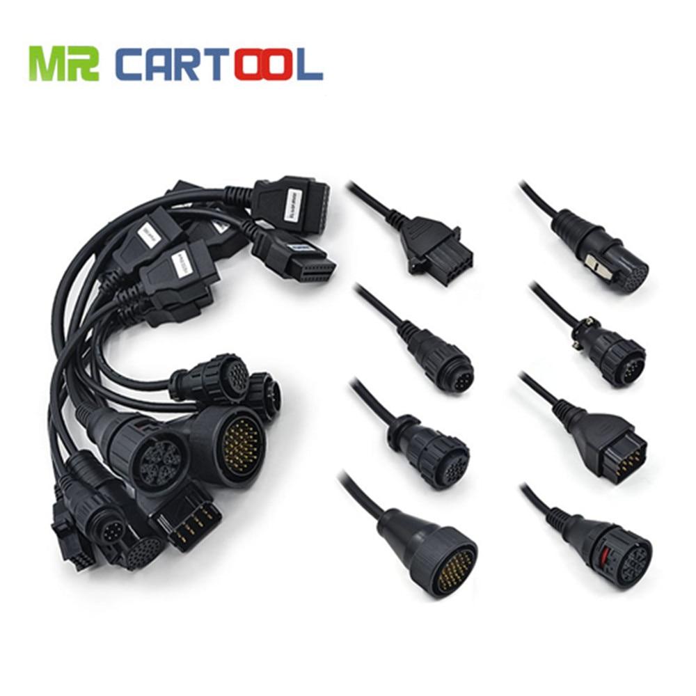 OBD2 ensemble complet 8 câbles De Camion travail pour TCS cdp pro plus OBDII OBD 2 Connecteur Câble Outil De Diagnostic Interface câble livraison gratuite