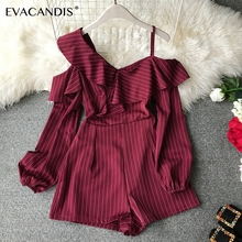 Ruffle Short Women Jumpsuit Striped White Long Sleeve Off Shoulder Black Boho Red Pink Summer Sexy Beach Rompers