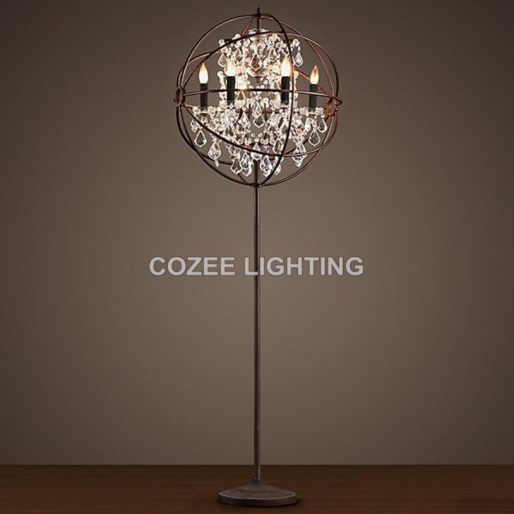 Vintage Crystal Floor Lamp Standing Lighting Led Orb Cristal Light Indoor Home Restaurant Living