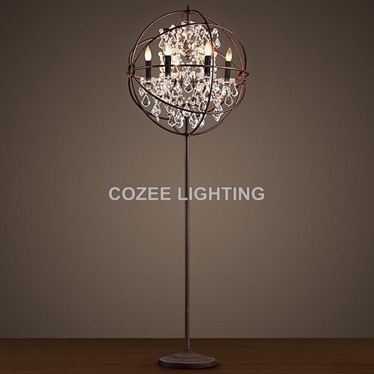 Vintage Crystal Floor Lamp Standing Lighting LED Orb ...