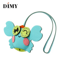 Dimy Handmade Lambskin Genuine Leather Crab Keychain Animal Women Bag Charm Key Chain Pendant Bag Accessories Birthday Gifts