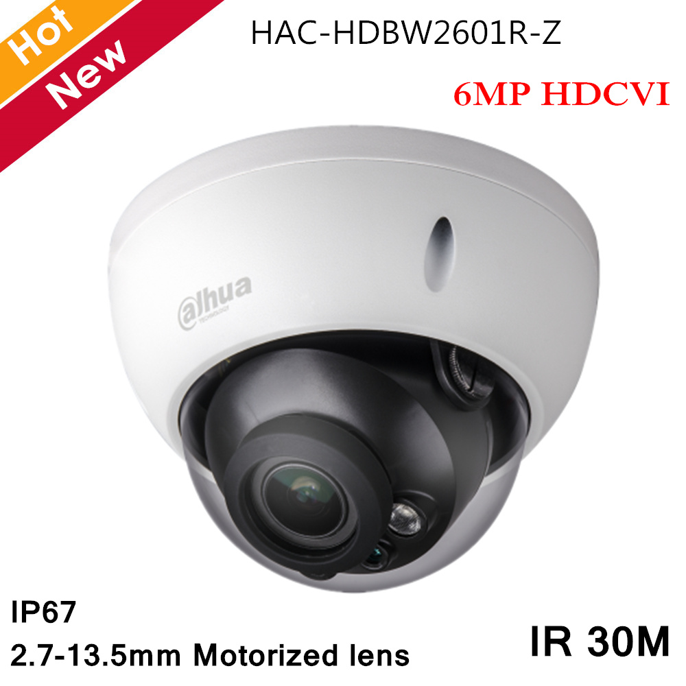 Dahua 6MP HDCVI Camera IR Dome Camera 2.7-13.5mm Motorized lens Audio in interface Waterproof for Indoor Outdoor CCTV CameraDahua 6MP HDCVI Camera IR Dome Camera 2.7-13.5mm Motorized lens Audio in interface Waterproof for Indoor Outdoor CCTV Camera