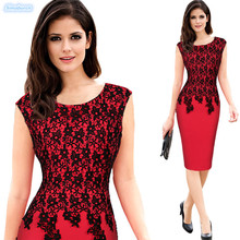 2019 Summer Women Lace Dress Elegant Floral Flower Sexy Party Bodycon Pencil Office Lady Sleeveless Casual Dresses S~5XL