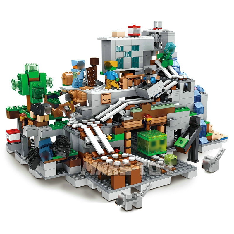 Minecrafted Building Blocks The Mountain Cave With Action Figures Series Bricks Set Educational Toys for Children Gift guerre moderne lego