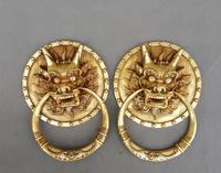 Rare pure bronze lion sculpture,antique door handle,Kirin carved tiger head door ring free shipping