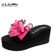 XMISTUO Large size Stretch fabric Non-slip Open Toe Slippers with Bow Sandals Home 7CM High Heels Beach Wedges Sandals Slippers xmistuo asual slopes with cool slippers ladiesnoble atmosphere on the grade high heeled shiny diamond slippers simple sandals