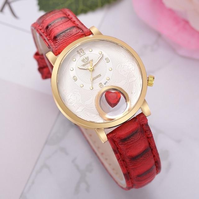 Women Leather Strap Bracelet Watch Fashion Luxury Gold Creative Red Heart Sport