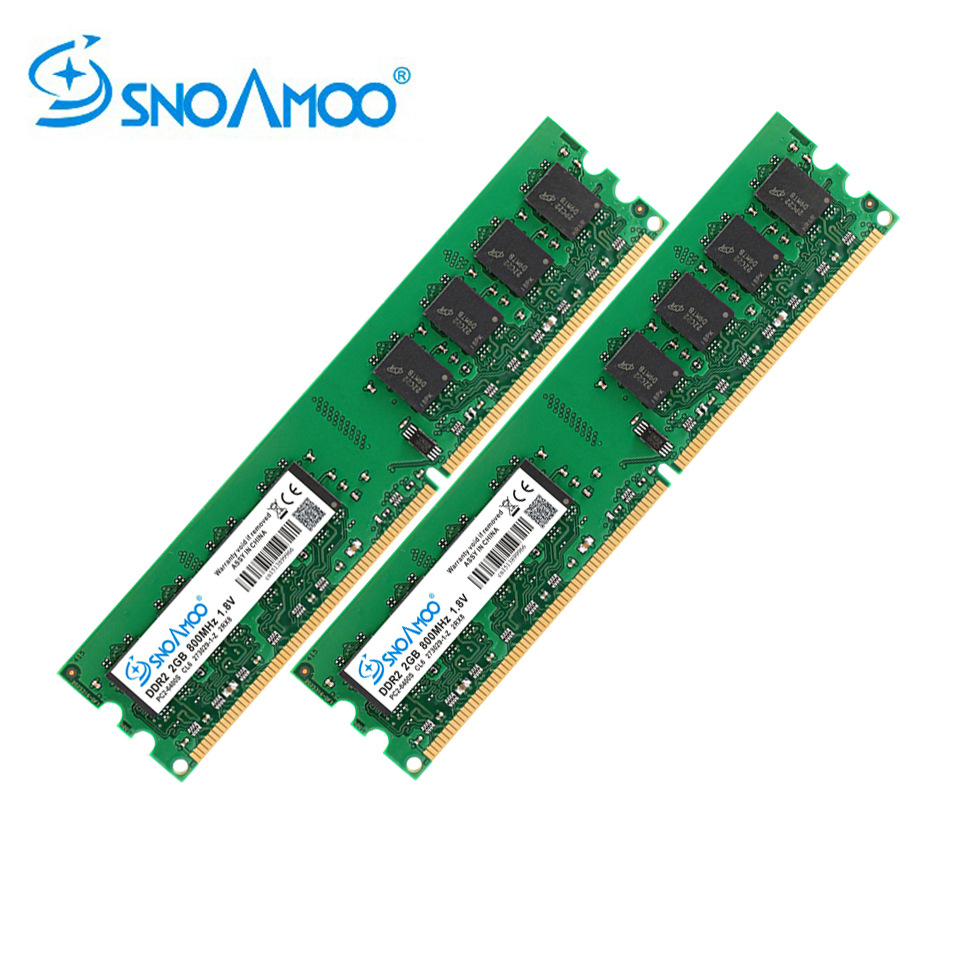 SNOAMOO RAM <font><b>DDR2</b></font> <font><b>4GB</b></font>(2GBx2pcs) <font><b>667MHz</b></font> 800MHz PC2-6400S Desktop PC RAMs 240-Pin 1.8V DIMM For Compatible Computer Memory Warranty image