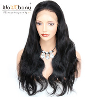 WoWEbony 360 Lace Frontal Wigs Indian Remy Hair Body Wave Human HairVivi Lace Wig For Black Women Pre plucked Hairline [360BW01]