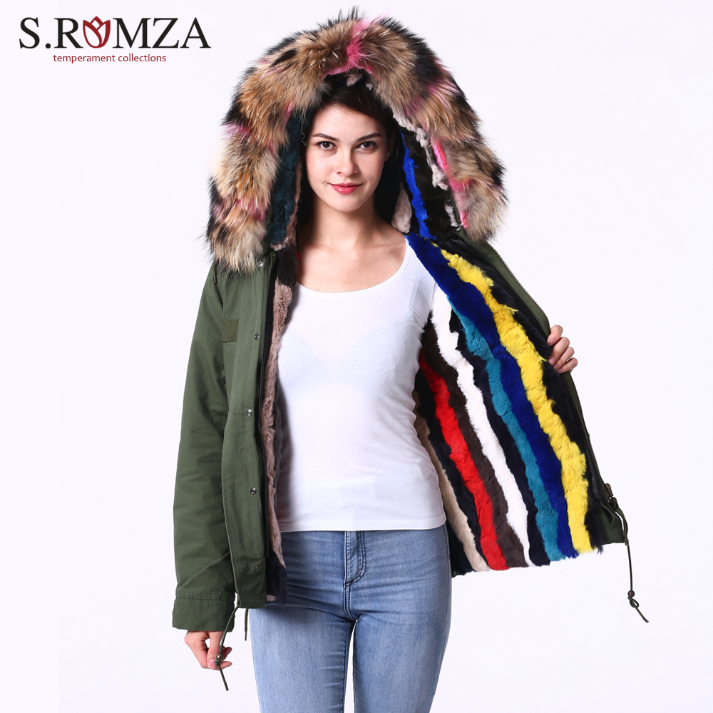 S.ROMZA Womens Raccoon Fur Collar Hooded Coat Faux Fur Liner Parka Winter Short Coat